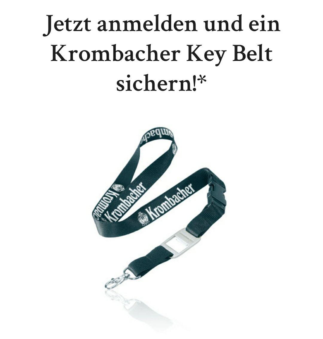 Krombacher Schlüsselband gratis für die kostenlose Anmeldung im Club