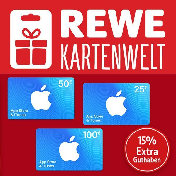 15% extra Guthaben für Apple AppStore & iTunes Geschenkkarten [Rewe Kartenwelt]