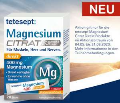 [GZG] Tetesept Magnesium Citrat - für 1000 Teilnehmer 100% Cashback