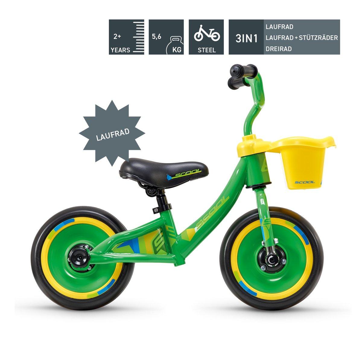 SCOOL pedeX 3in1 Laufrad, Dreirad mit Stützräder in grün, schwarz oder lila