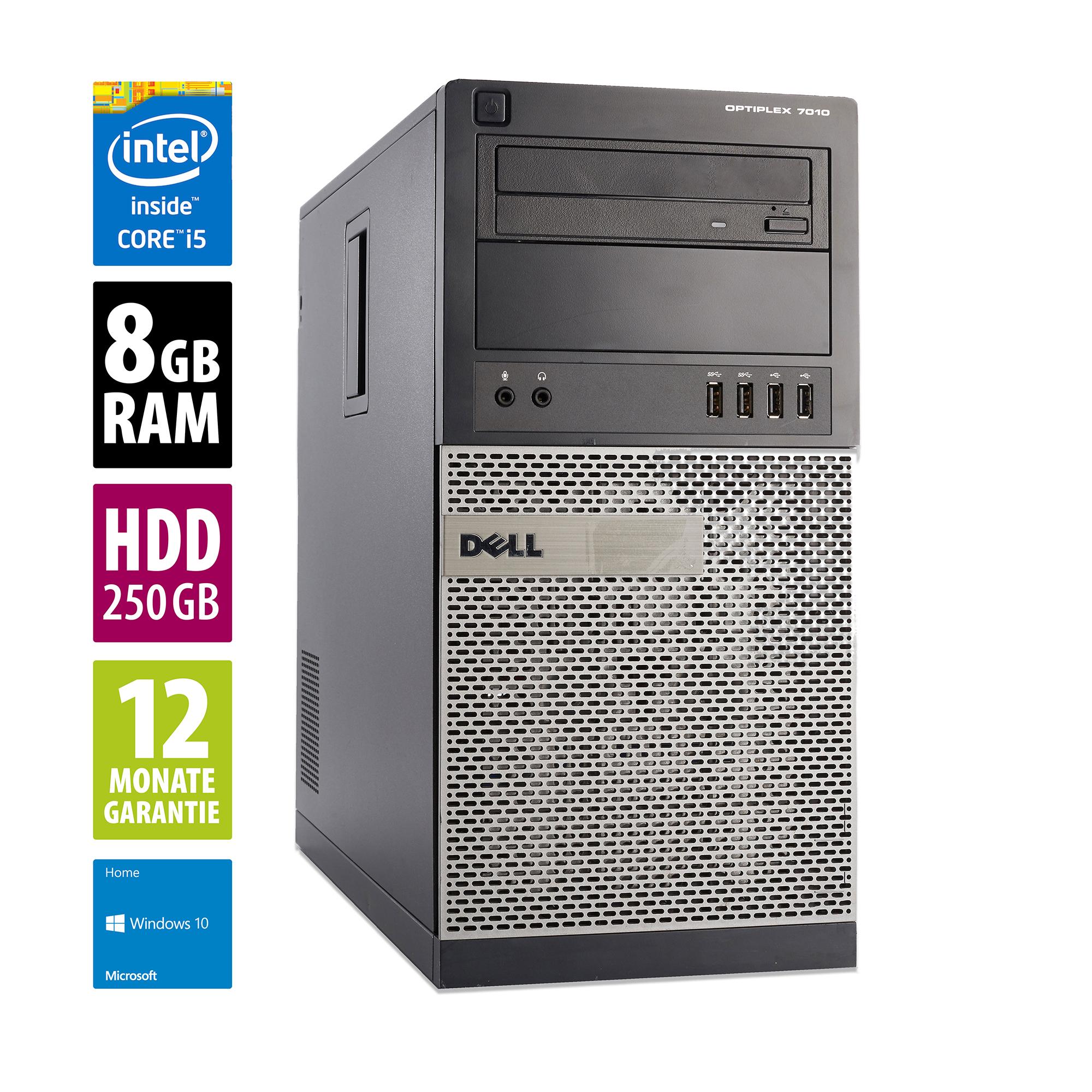 Dell OptiPlex 7010 MT - Core i5-3470 @ 3,2 GHz - 8GB RAM - 250GB HDD - DVD-ROM - Win10Home