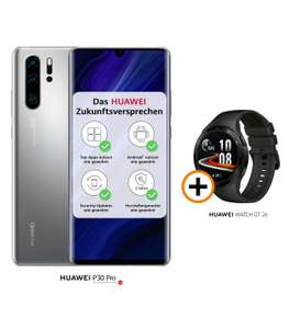 """Huawei P30 Pro New Edition (6.47"""" OLED, 8/256GB, Android 10, USB-C 3.1, NFC, IP68, 4200mAh) mit Watch GT2e [Ratenzahlung]"""