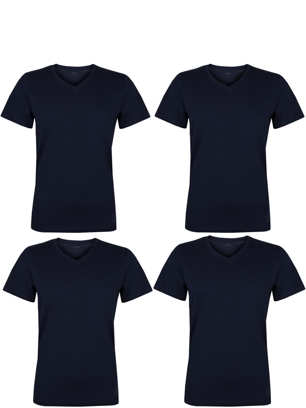 4er Pack Tom Tailor Uni O-Neck / V-Neck T-Shirt - 100% Baumwolle bis 3XL [Amazon Pay]