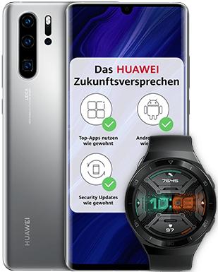 Huawei P30 Pro New Edition + Huawei Watch GT2e im O2 Free M Boost 40 GB LTE Allnet 34,99€ mtl. oder O2 Free M 32,99 mtl.