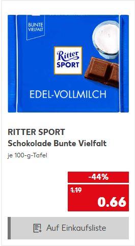 Ritter Sport, Bunte Vielfalt, 0,66€/100g, Kaufland, Deutschlandweit