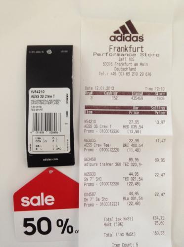 [lokal] adidas Performance Store Frankfurt - T-Shirt AESS 3S Crew T + weitere Sportklamotten günstig