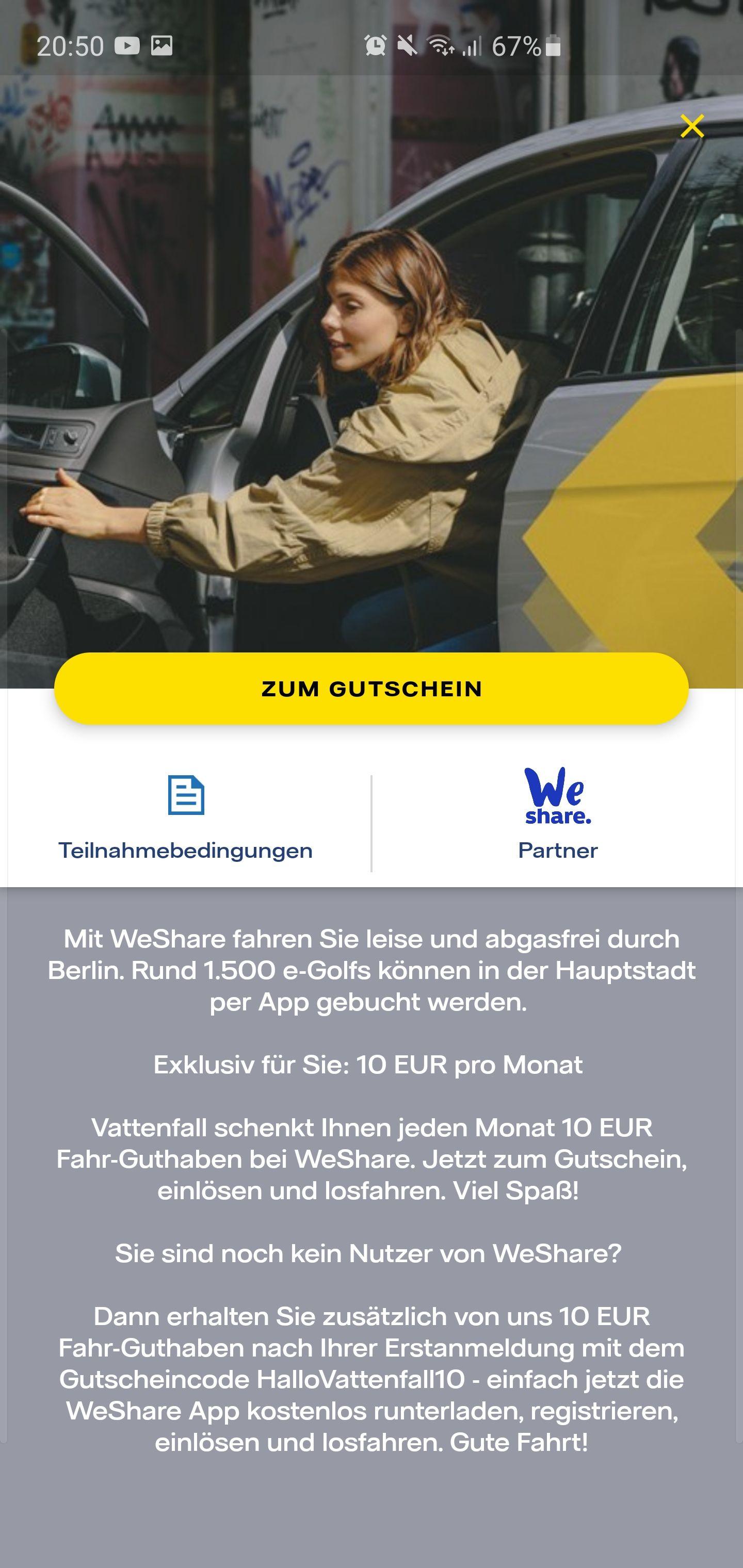 10€ Vattenfall-Gutschein für WeShare Carsharing, monatlich [Berlin]