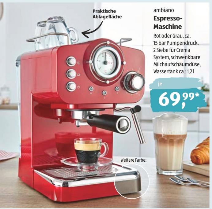 Ambiano Espresso-Maschine bei Aldi Süd