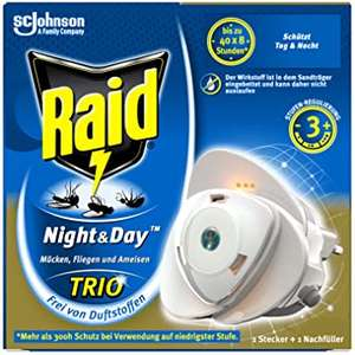 [AMAZON Prime] Raid Night & Day Trio Insekten Stecker, Schutz vor fliegenden & kriechenden Insekten, Stecker & 1 Nachfüller