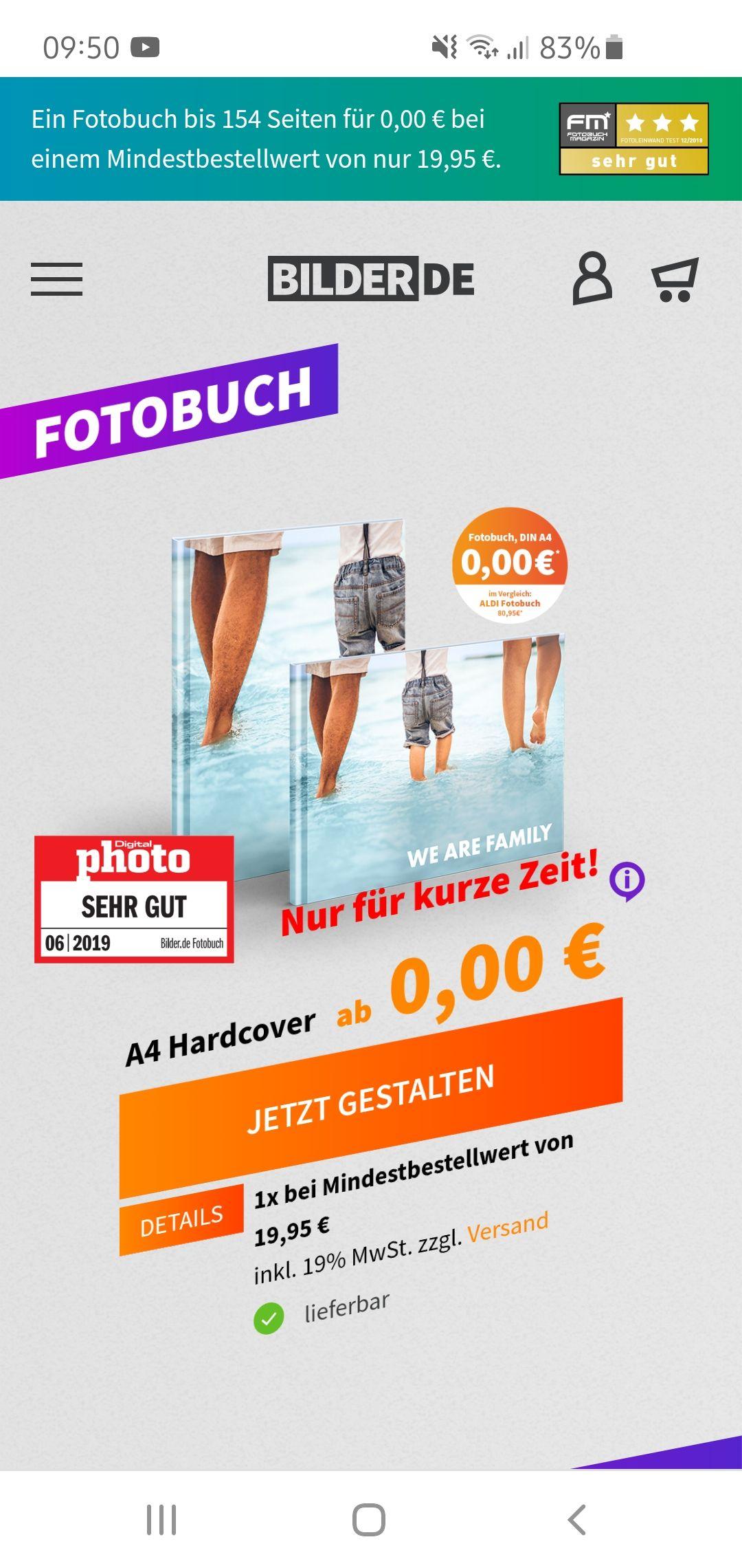 Kostenloses Fotobuch mit 154 Seiten bei einem Einkauf von 19.95€(z.b Leinwand 90x60cm)