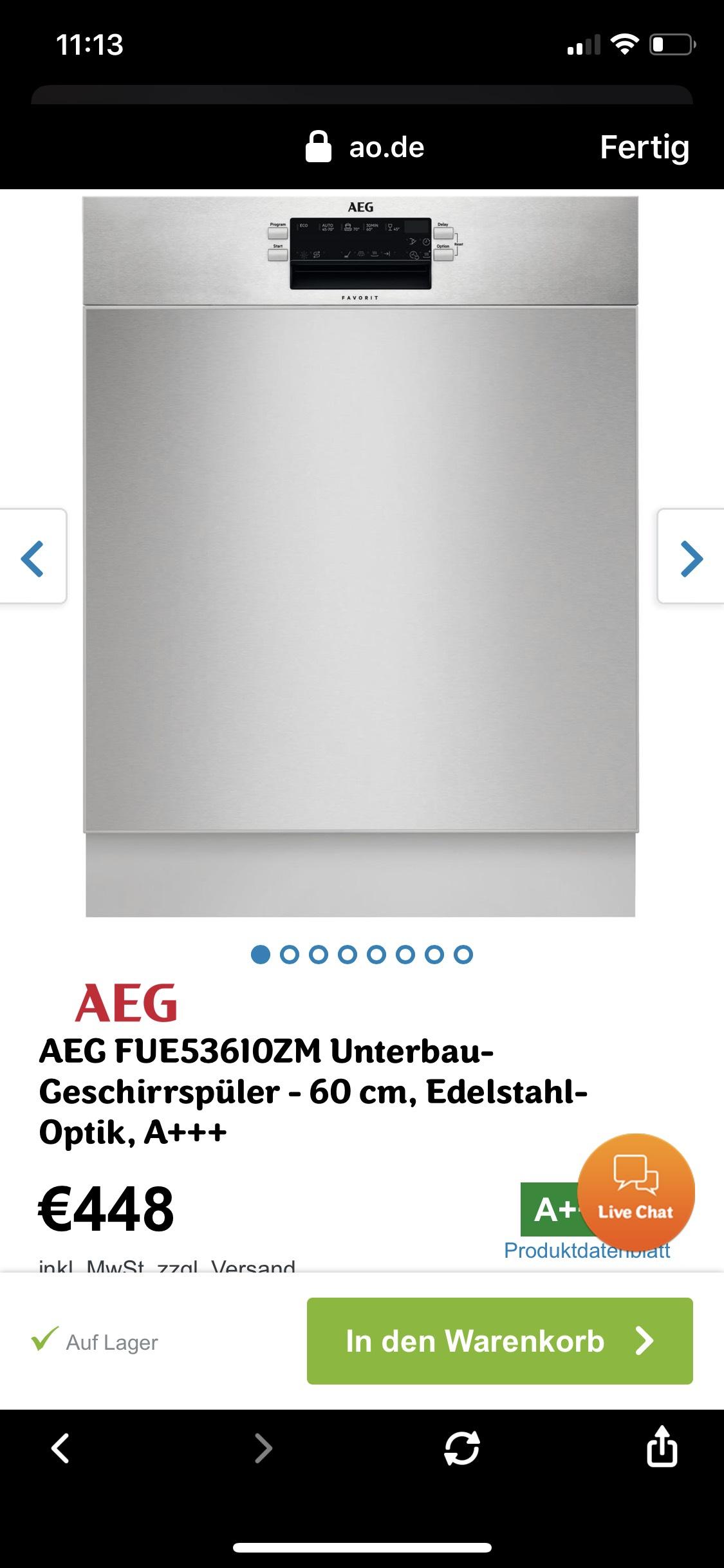 AEG Einbaugeschirrspüler FUE53610ZM