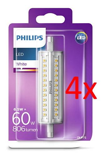 Viererpack Philips LED-Stablampe (Sockel R7s, 6.5W, 3000K warmweiß, 36° Abstrahlwinkel, 118mm)