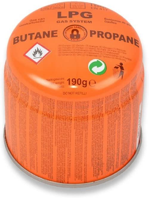 Gaskartusche (190g) für Campinggaskocher (und Co.) +++ 5L destilliertes Wasser