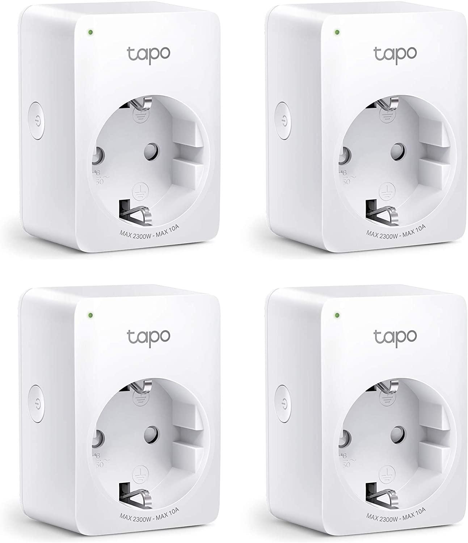4'er-Pack TP-Link Tapo P100 - Smart Home Steckdose, kompatibel mit Alexa und Google Home