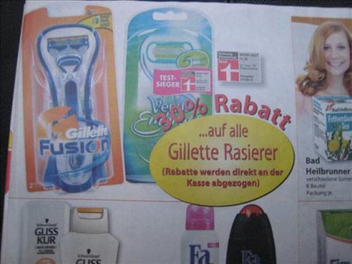 30% auf alle Gillette Rasierer bei Famila