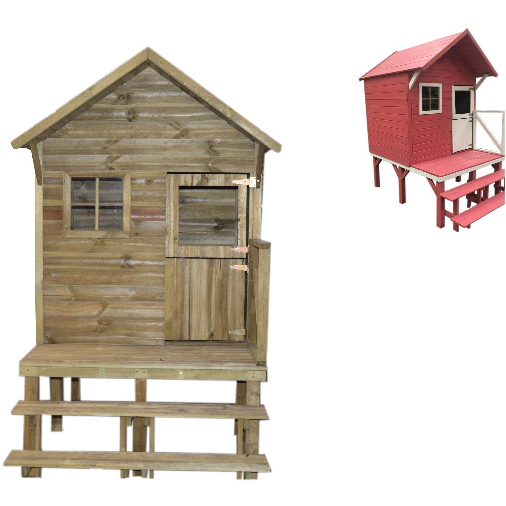 Trigano Garten Kinder-Spielhaus Lena aus Kiefernholz
