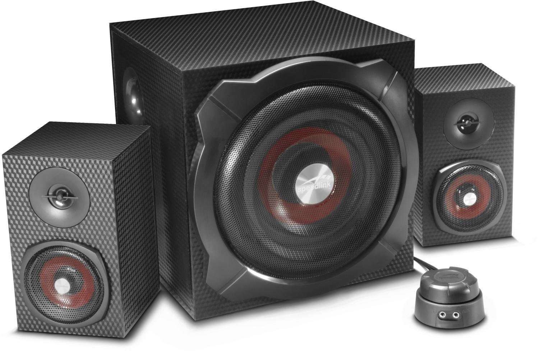 Speedlink Gravity Carbon 2.1-Lautsprecherset (60W, Bluetooth, AUX-In & -Out, Kopfhörerausgang, Holzgehäuse)