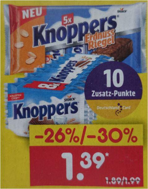 Knoppers Nuss Riegel 5er-Pack oder Knoppers Haselnuss-Schnitten 8er-Pack für je 1,39 Euro [Netto MD]