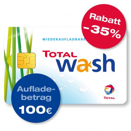 Mal wieder da. TOTAL Waschkarte - bis zu 35% sparen - 100 EUR für 65 EUR