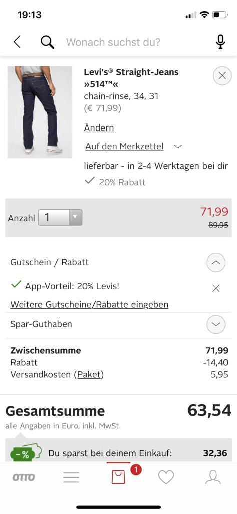 20% auf ALLES von Levi's in der Otto-App auch auf reduzierte Artikel