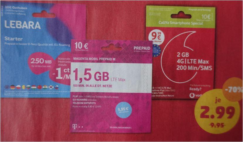 Prepaid-Pakete statt 9,95 Euro für 2,99 Euro [Penny-teilnehmende Märkte]