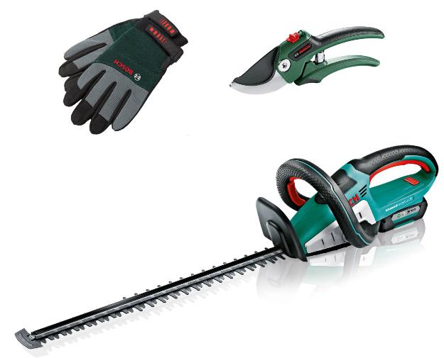 Bosch 36v Akku Heckenschere Advanced HedgeCut mit 2,0Ah Akku, Ladegerät, Astschere und Handschuhe