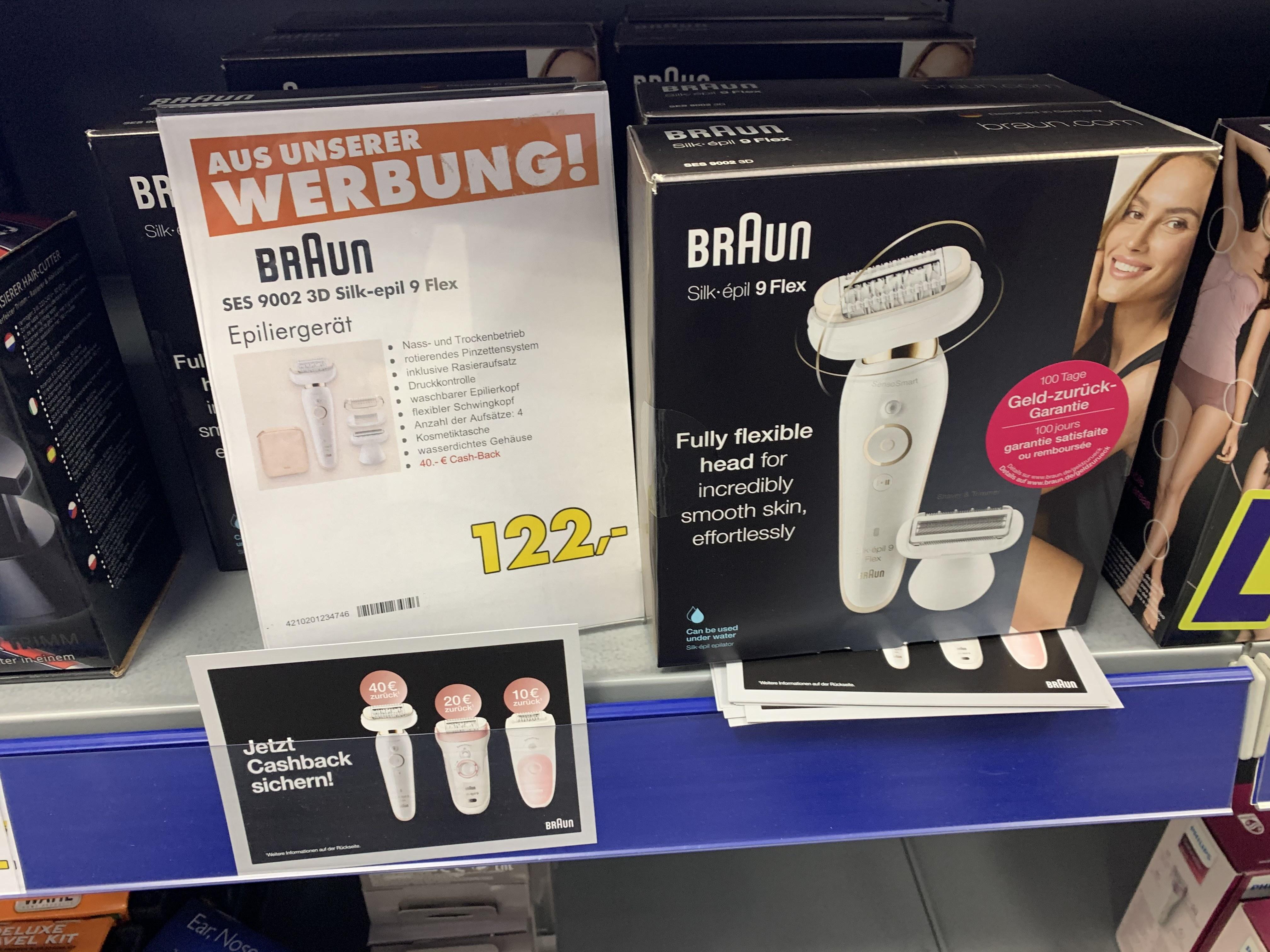 (Lokal Balingen, Tuttlingen, Albstadt) Braun Epilierer Silk-epil 9 Flex für effektiv 82 € inkl. Cashback
