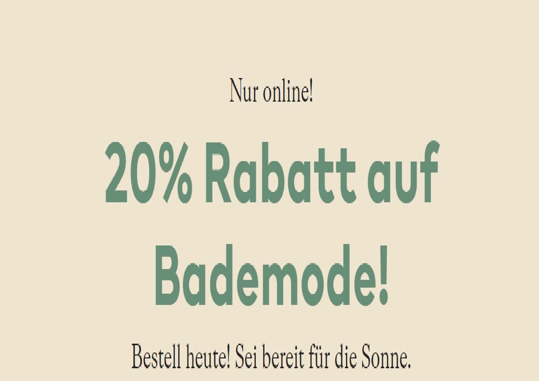 20% Rabatt auf Bademode!
