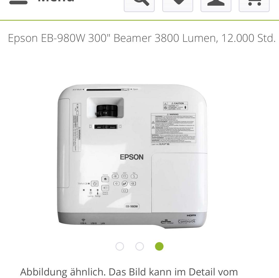 """Sammeldeal Beamer: Epson EB-2155W 300"""" 5.000 Lumen + EB-980W 300 3800 Lumen"""