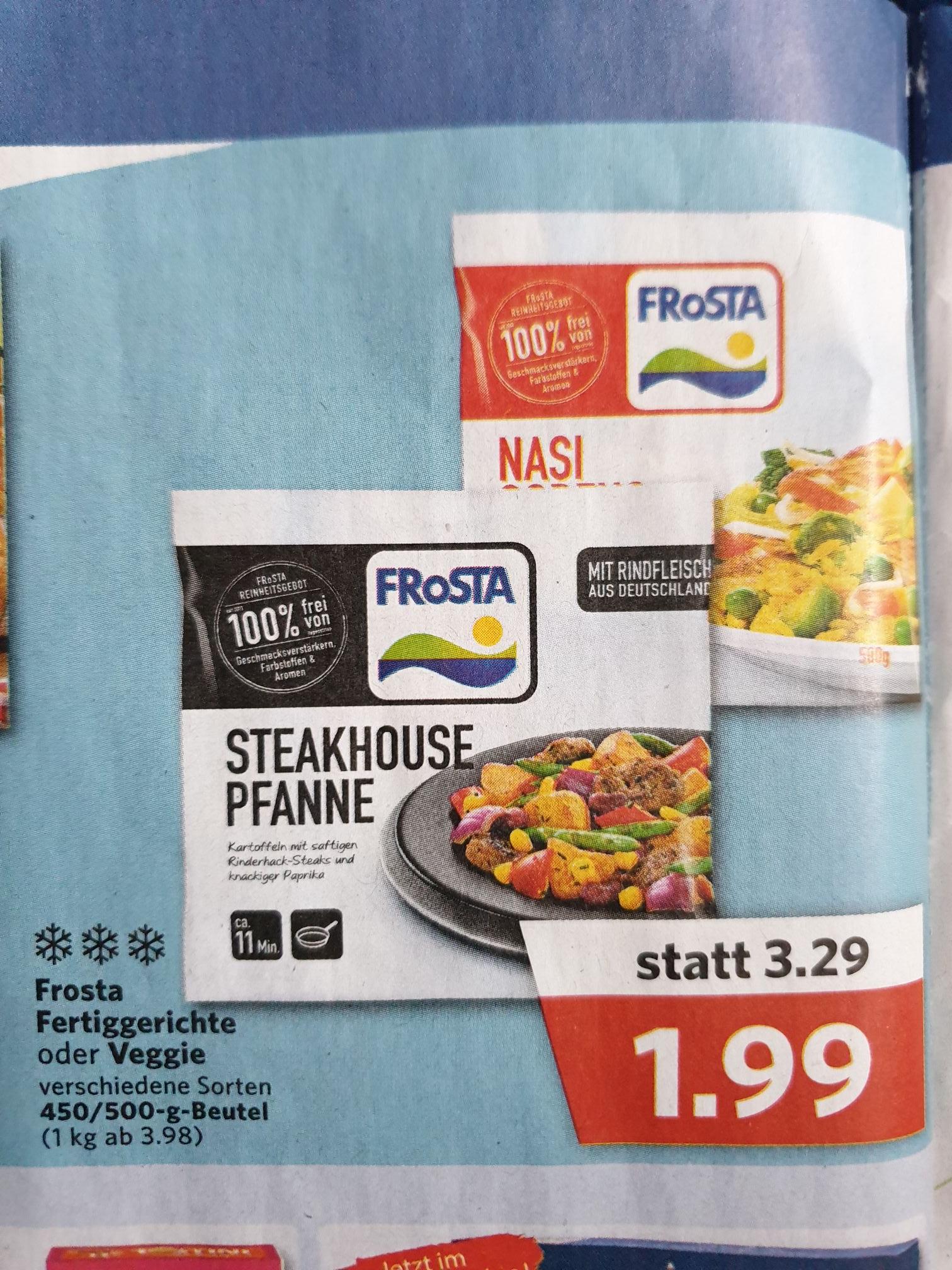 Combi/Jibi-Markt Frosta Pfannen/Fertiggerichte auch Veggie 450-500 Gramm verschiedene Sorten 1,99€
