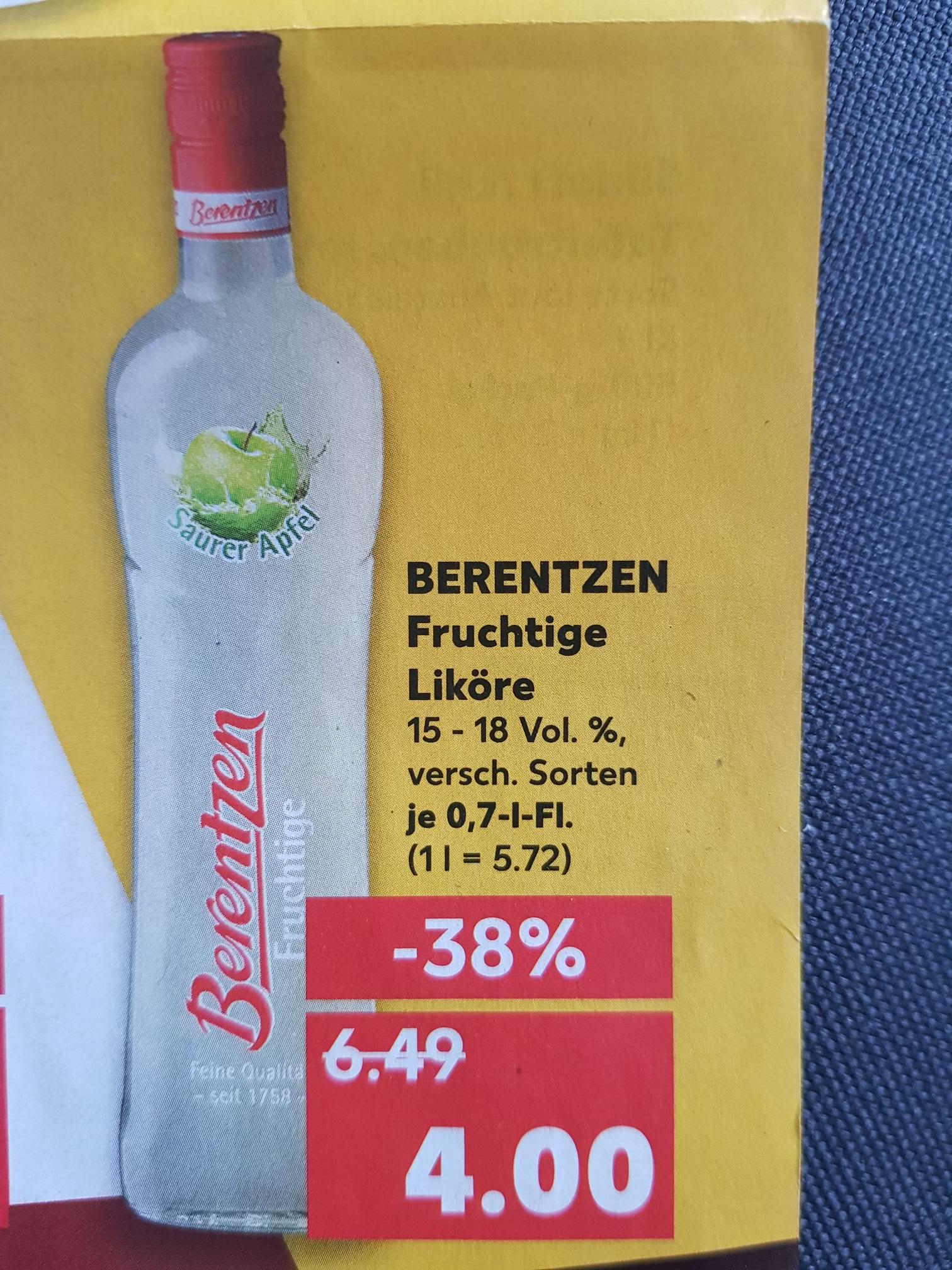 Berentzen Fruchtige Liköre [Kaufland] Weitere Spirituosen in der Beschreibung (Likör 43, Absolut Vodka)