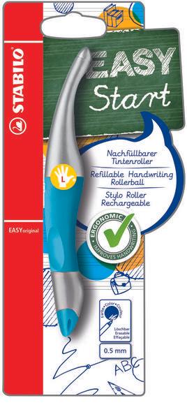 ( Thalia Versandkostenfrei ) STABILO easy start neonblau-metallic für LINKSHÄNDER Nachfüllbarer Tintenroller