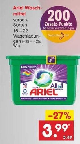 [Netto] Ariel Waschmittel für 2.39€(!) möglich / 20% Rabatt möglich + 200 Punkte DC
