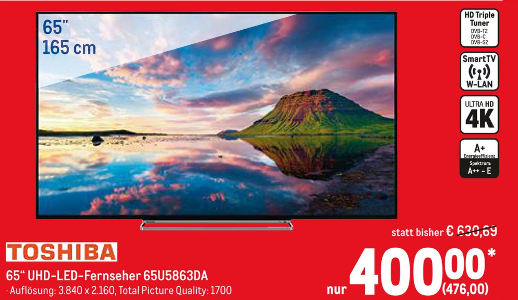(Lokal Metro) Toshiba 165 cm/65 Zoll 4K Ultra HD 65U5863DA LED-Fernseher mit Lautsprecher von Onkyo (Smart-TV, Dolby Vision HDR, HDR10, HLG)