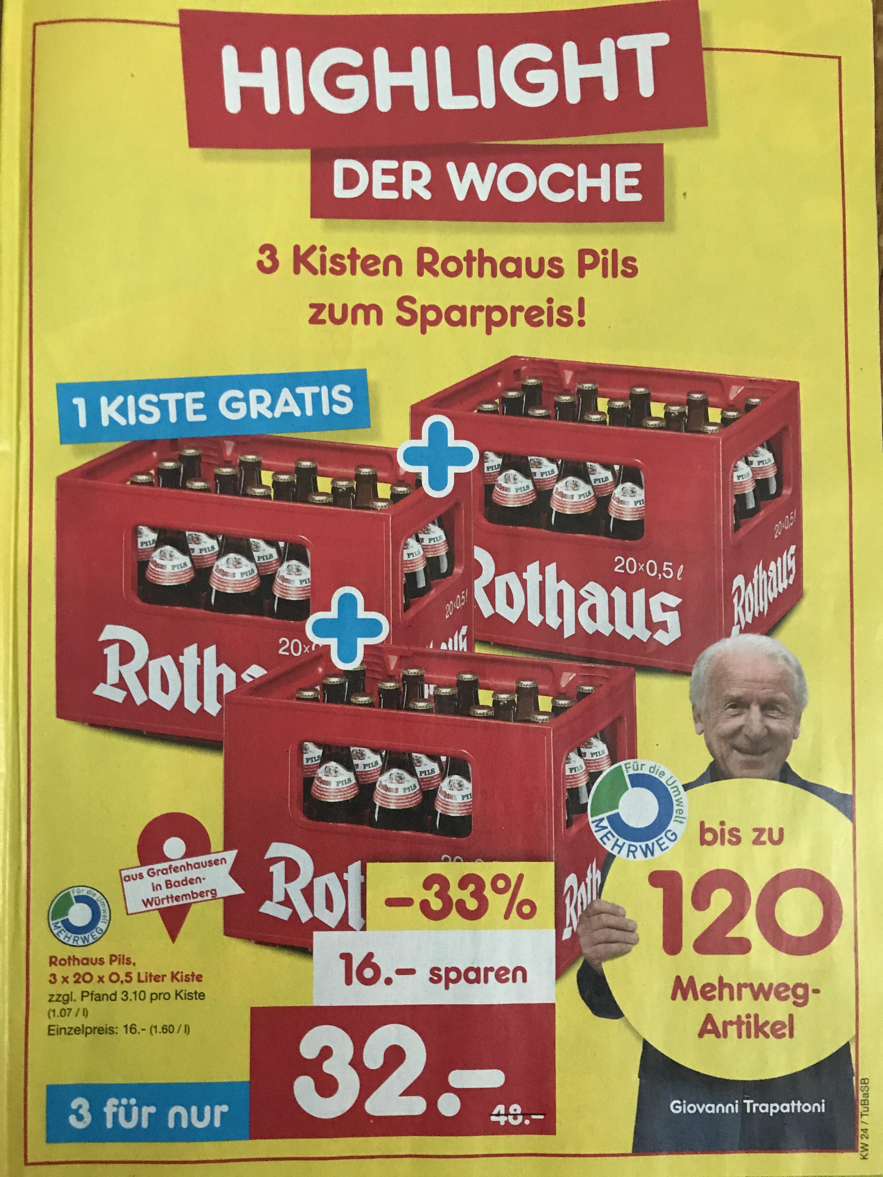 Rothaus Pils 3 x 20 x 0,5 l für 32€ zzgl. Pfand lokal Netto MD