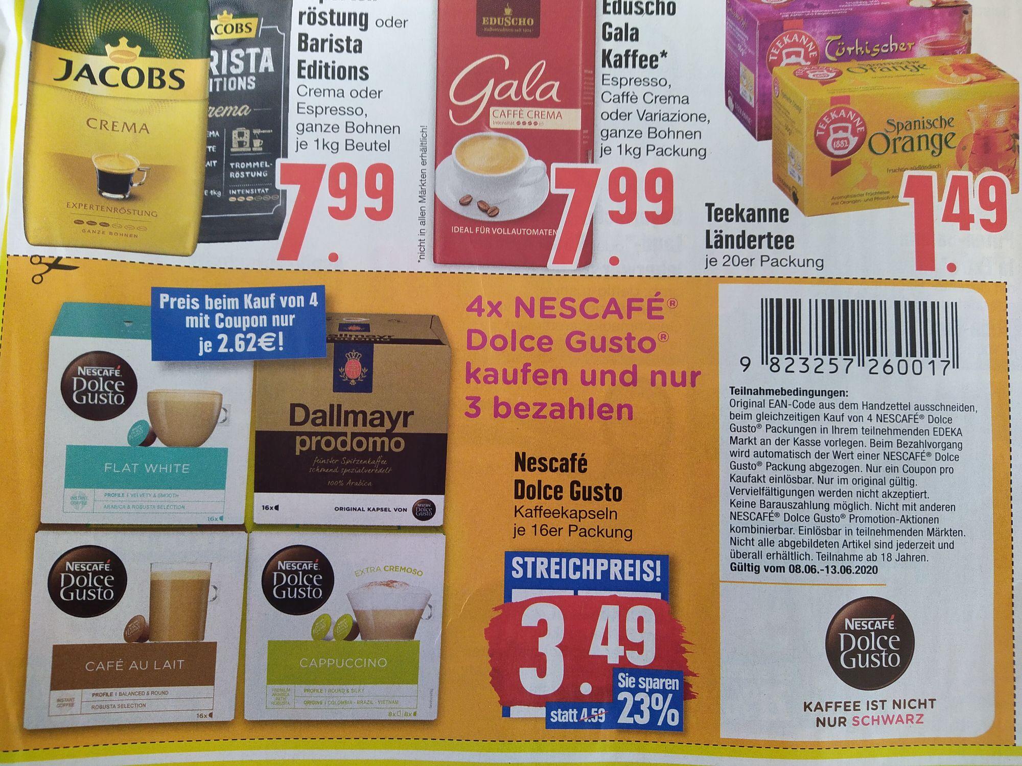[Edeka] [LOKAL] [Südbayern, Minden, ggf. auch woanders] Dolce Gusto Kapseln 4 für 3 / 2,62€/Packung