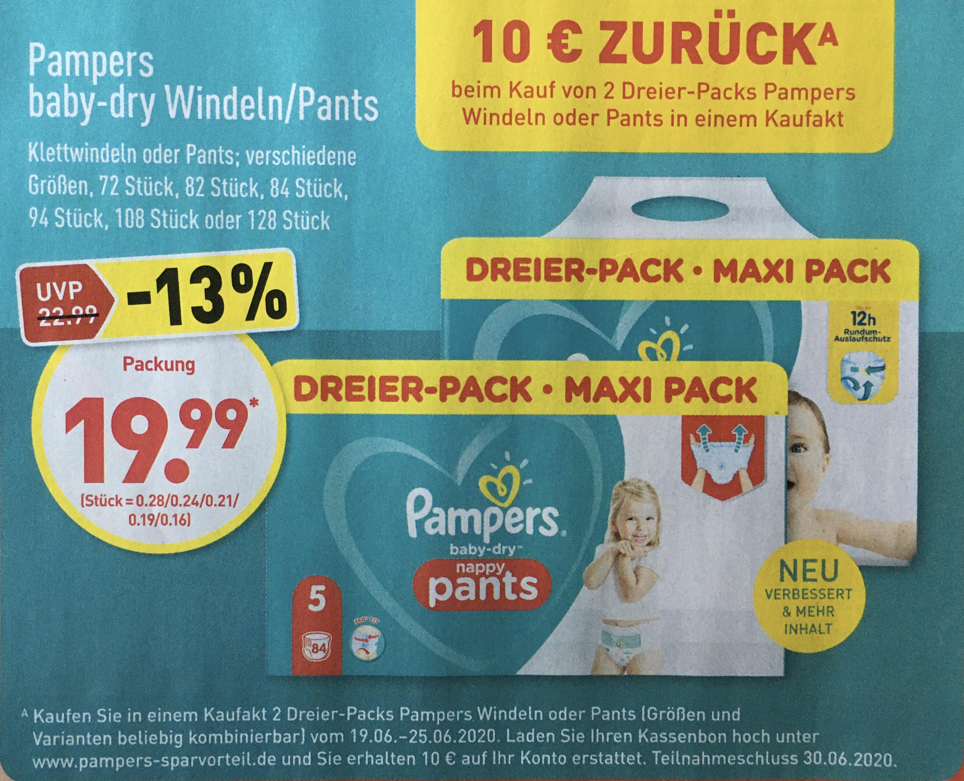Pampers baby dry Windeln/Pants Maxi Pack, 10€ Rabatt bei Kauf von 2 Stück, ab 19.06. [ALDI-NORD]