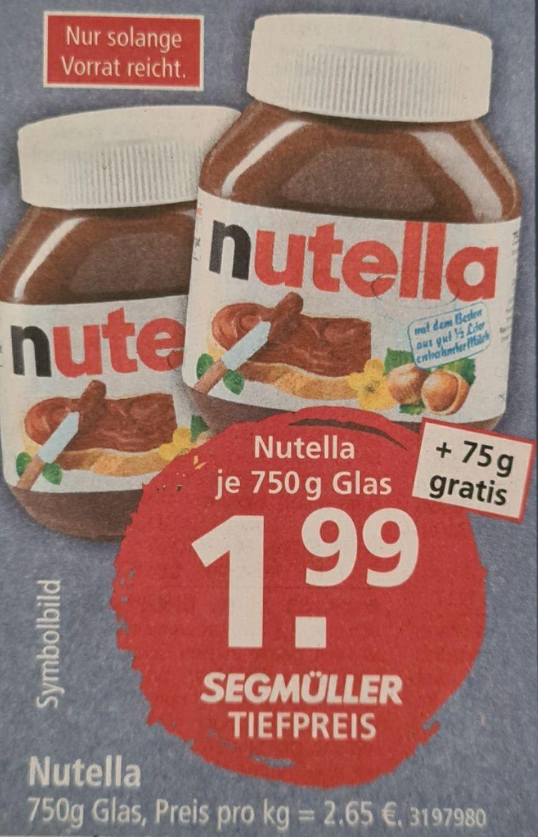 Nutella 750 g Glas + 75 g gratis am 13.06.2020 [Lokal, Segmüller Pulheim]