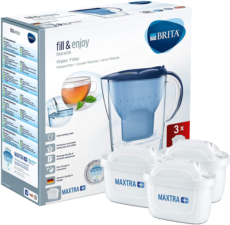 BRITA Wasserfilter Marella Cool (Blau) Starterpaket inkl. 3 MAXTRA+ Filterkartuschen für 16,37€ (Amazon Prime)