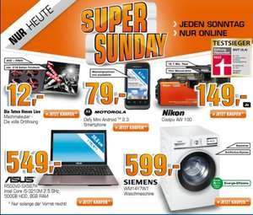 [Saturn Super Sunday Schnäppchen] Nikon COOLPIX AW100 für 149€, Siemens WM14Y7W1 für 599€, Motorola Defy Mini für 79€, Die Toten Hosen - Machmalauter Premium für 12€
