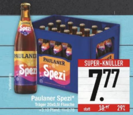 Lokal - Paulaner Spezi - 20 x 0,5l für 7,77 € (+ 3,10€ Pfand) [Edeka Center Südbayern]