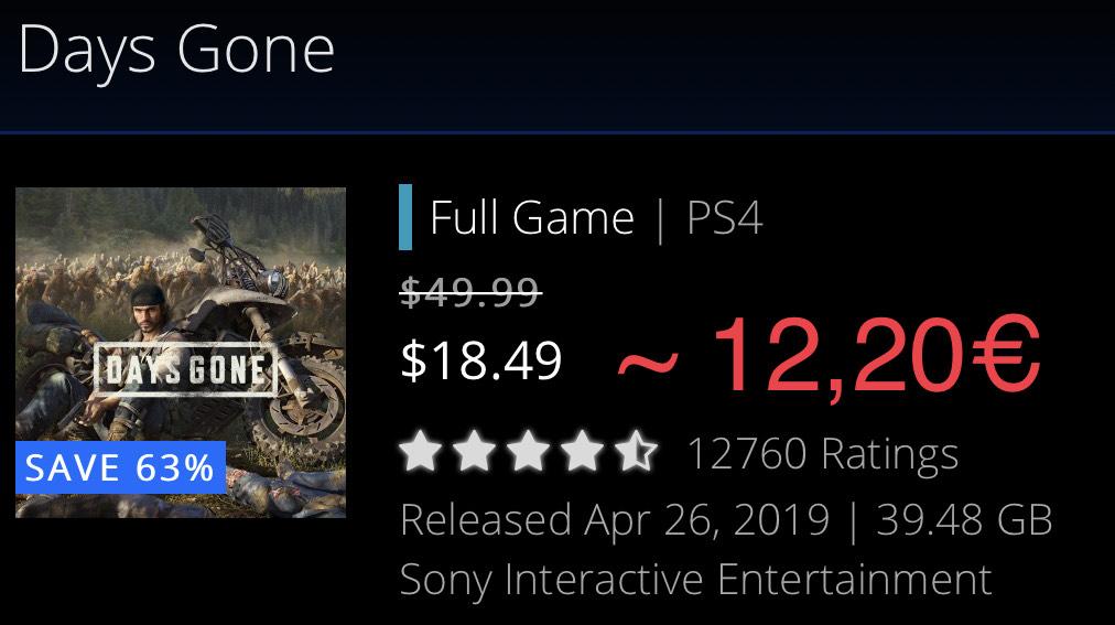 Days Gone für 12,20€ im kanadischen PSN-Store