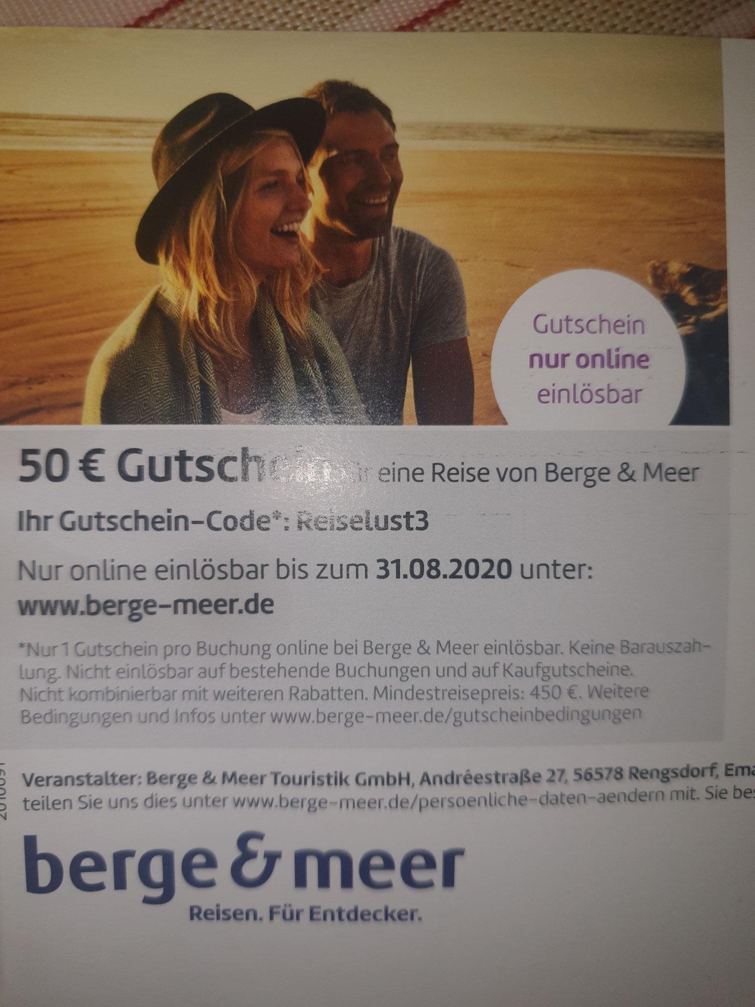 50€ Gutscheincode für Berge und Meer 450€ MBW