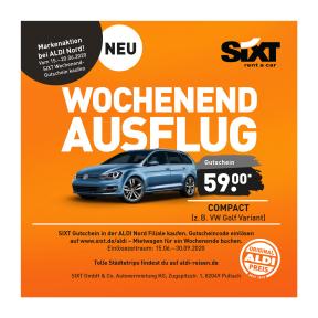 Sixt-Gutscheine bei Aldi (z.B. Compact ab 59 Euro) - 3 Tage Mietdauer (Zeitraum Do 12 Uhr bis Di 9 Uhr)