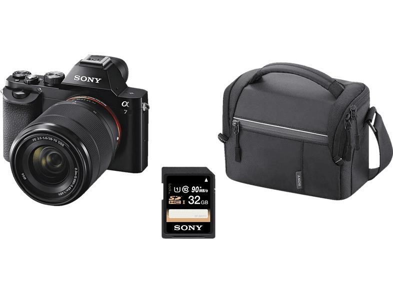 Systemkamera Sony Alpha 7 Kit 28-70mm (Vollformat, 24.3 Megapixel, 2.68x opt. Zoom, Full HD, WLAN) + Tasche + 32GB SD-Karte