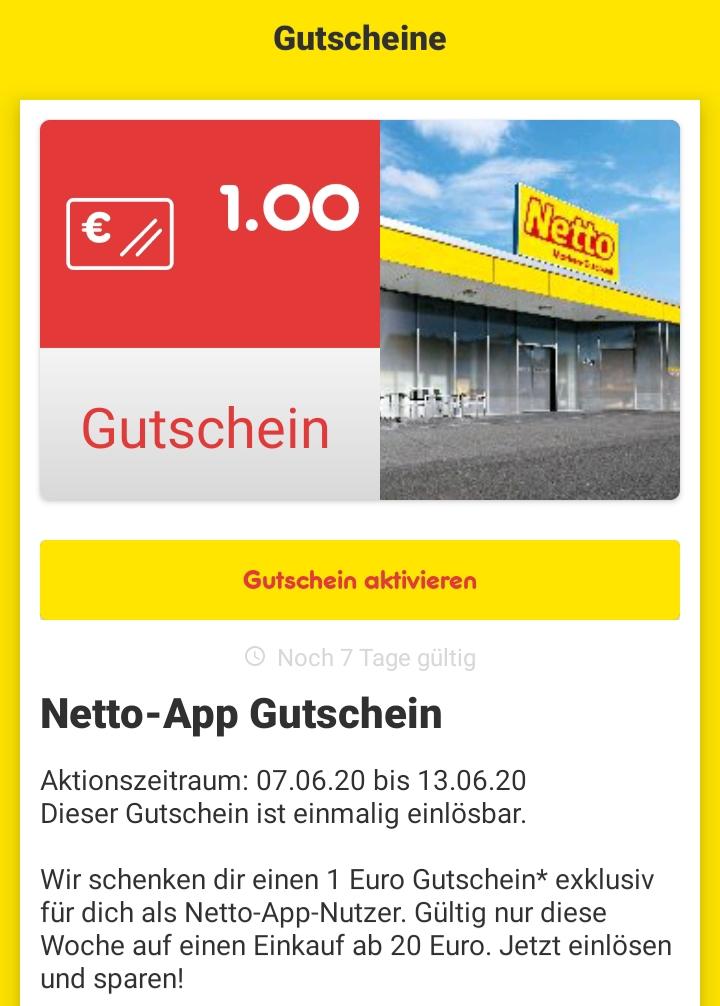 [Netto Marken-Discount - App] 1€ Rabatt ab 20€ über die App