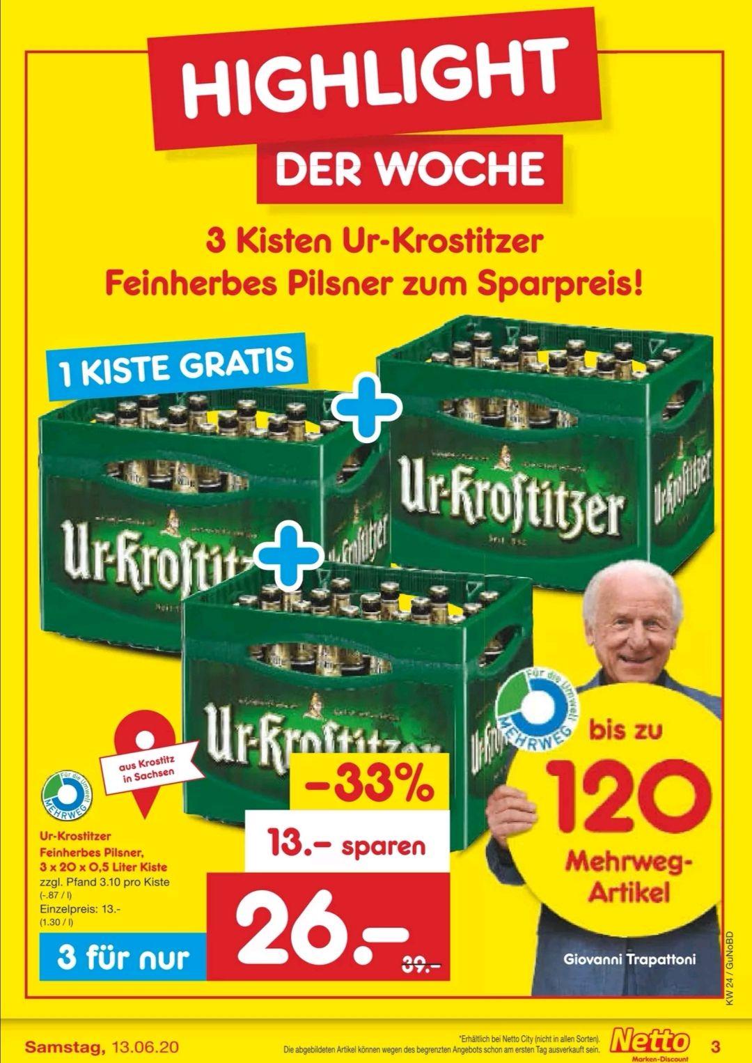 3 Kästen Ur-Krostitzer für nur 26 Euro (regional)