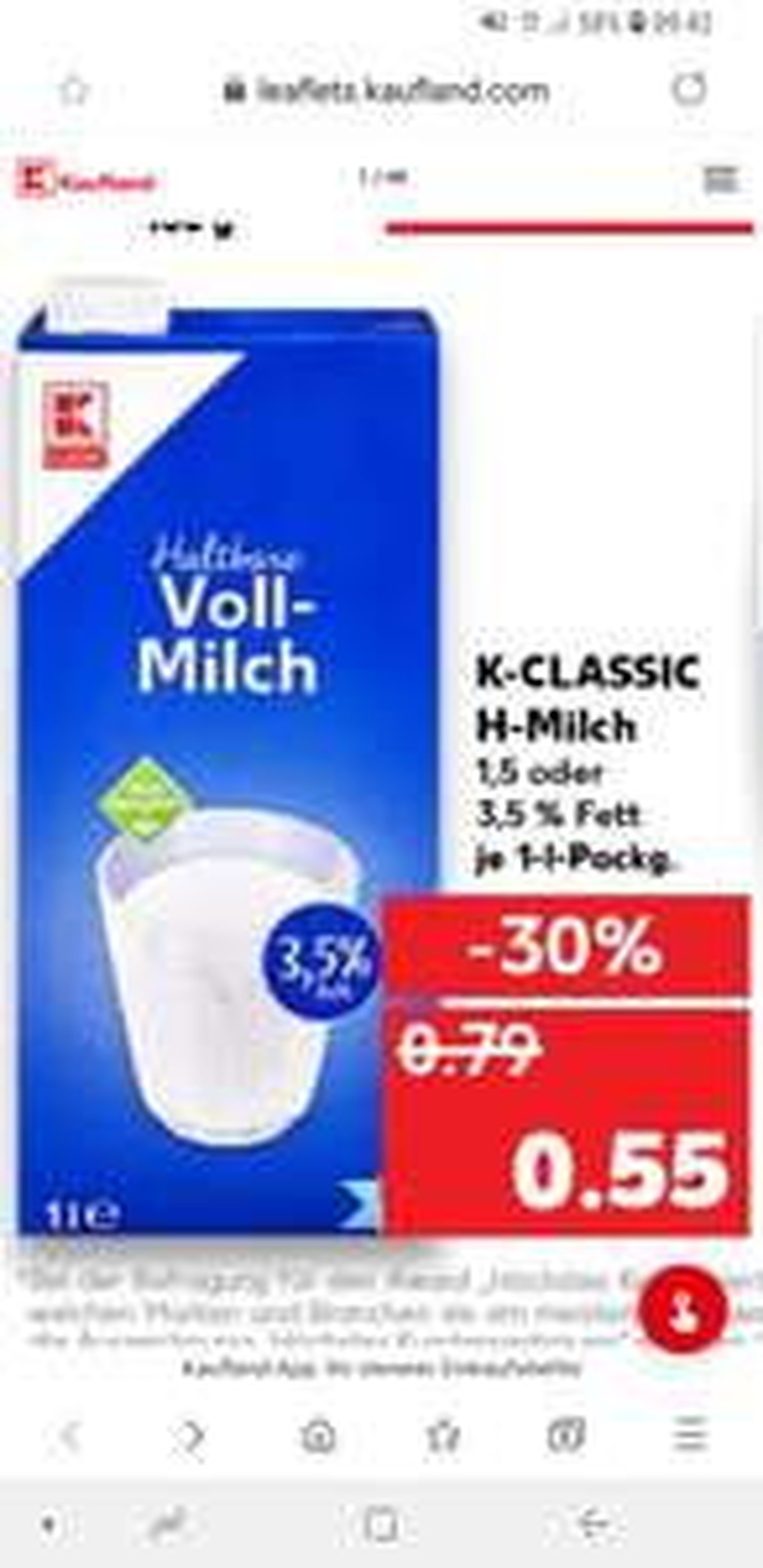 K-CLASSIC: H-Milch 1,5 oder 3,5 % Fett