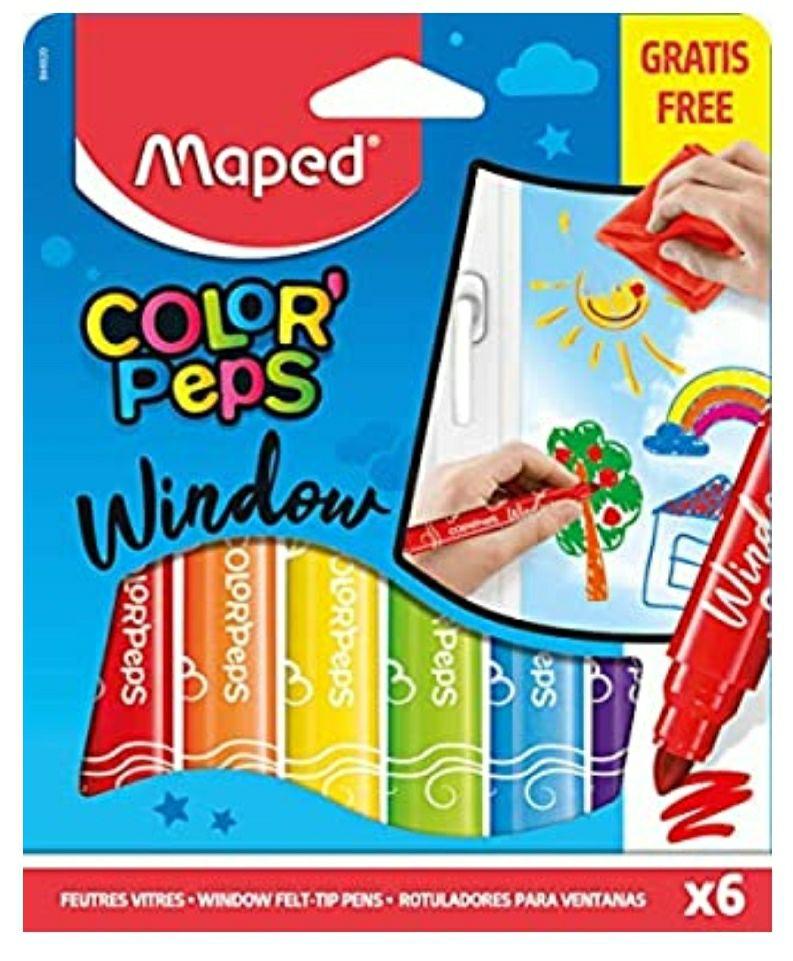 Maped 844820 Filzstifte Color Peps Window 6 Stück, Ideal für Fenster oder Spiegel