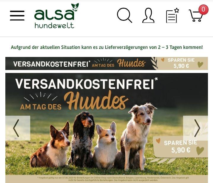 Alsa-Hundewelt Heute Versandkostenfrei plus 15,-€ Code